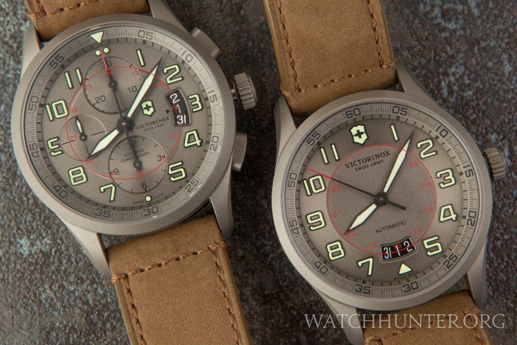 Strong family features in this pair of titanium limited edition Swiss Army Airboss watches