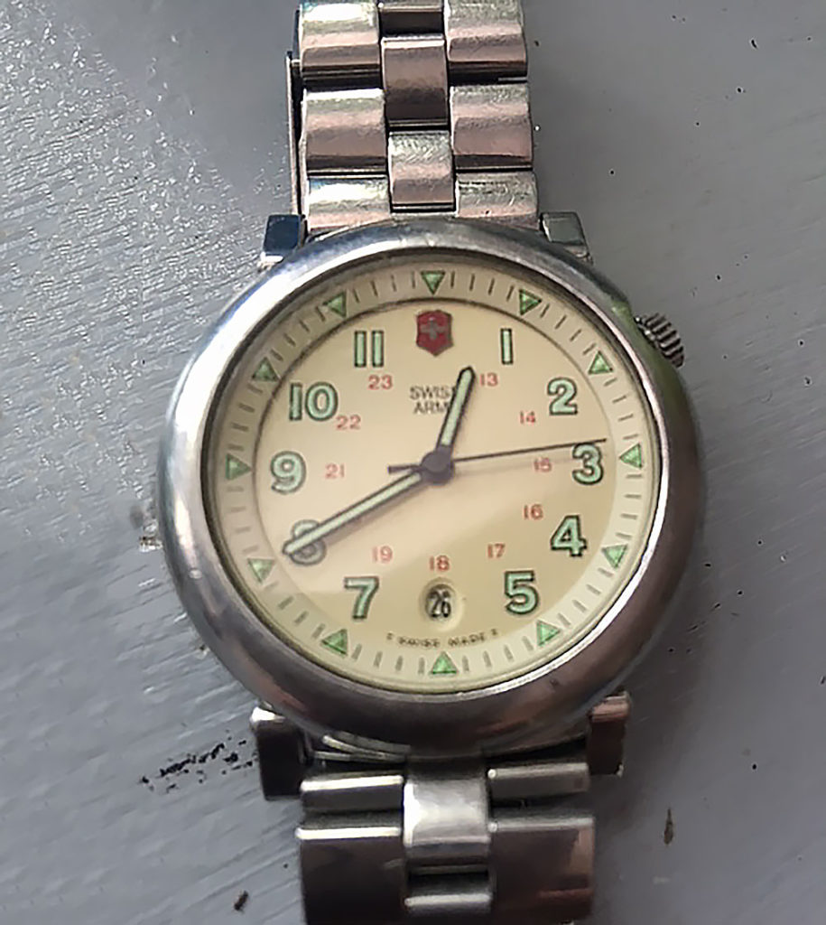 A very early Swiss Army watch with pivotal lugs and offset crown called the Delta