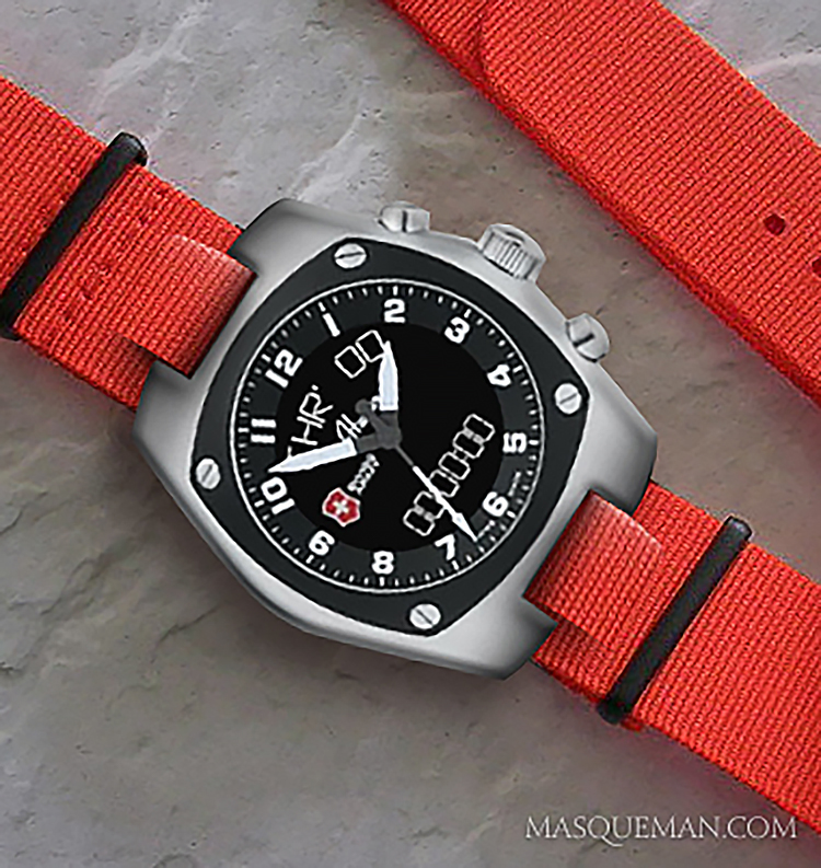 Concept of a Swiss Army Mach 3 on a replacement NATO strap with 12 mm slit center section.