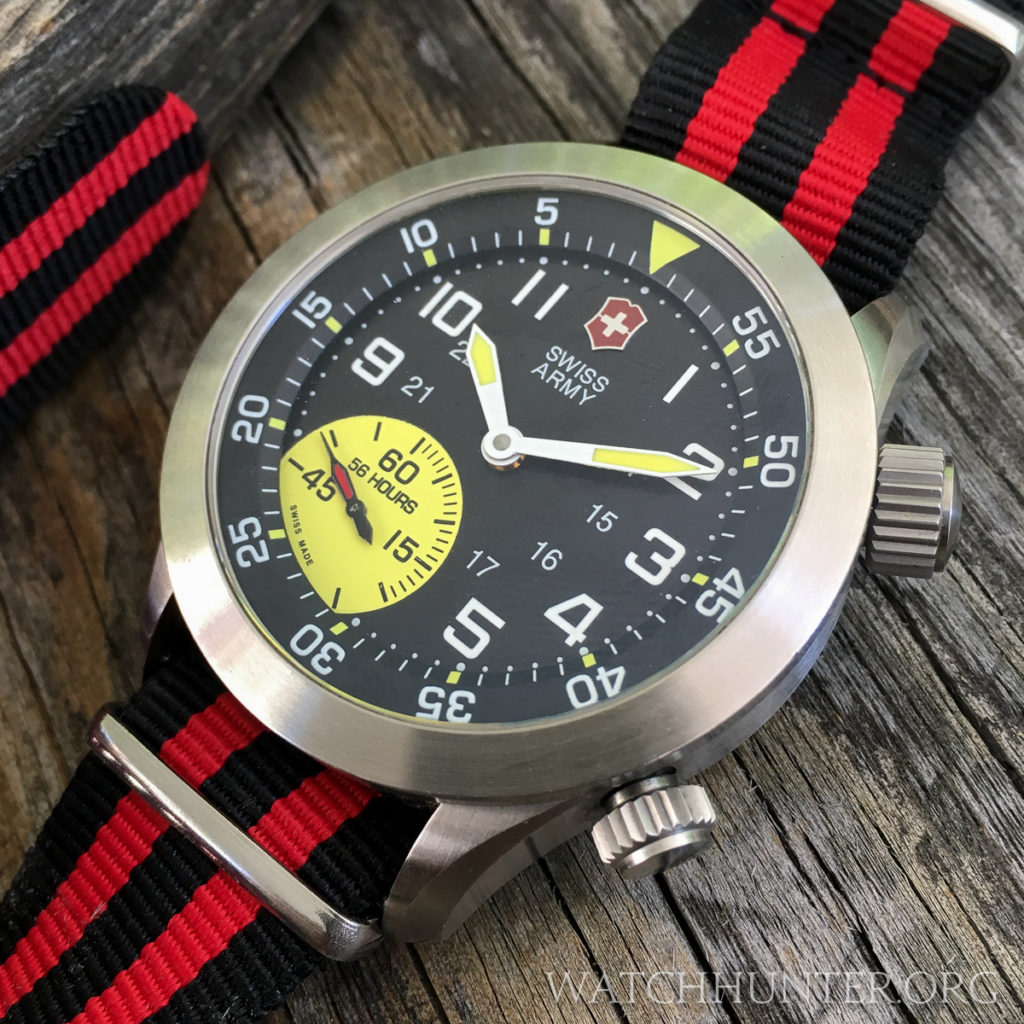 The Airboss Mach 4 Limted Edition has a ompressor style case with 2 crowns on aftermarket NATO strap