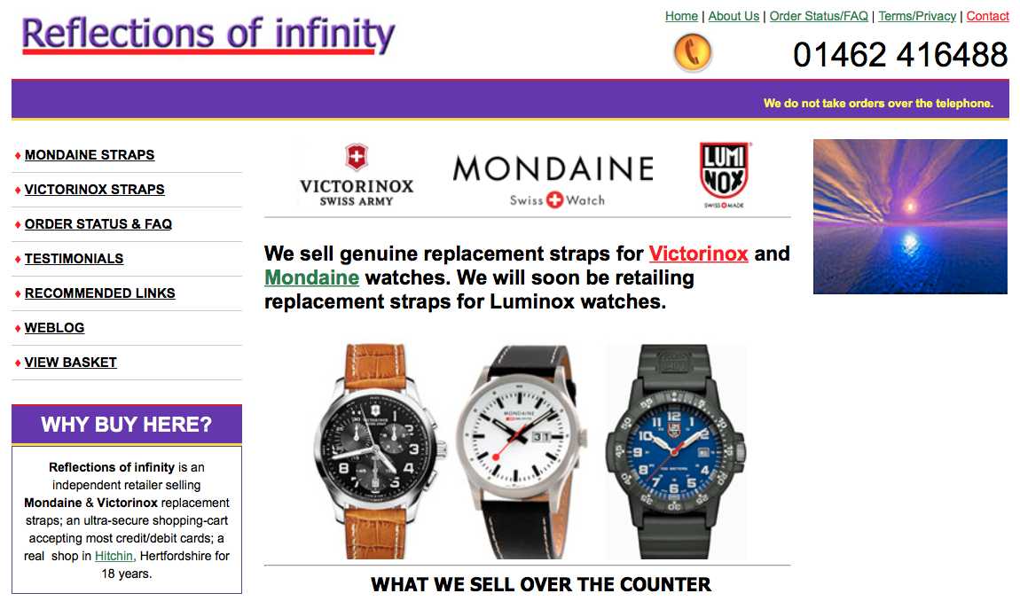 Reflections of Infinity is a Watch Store Located in the UK, but Sells Worldwide