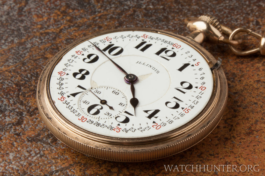 A 1924 Illinois Bunn Special railroad grade movement in a B&B Royal gold plated case with the cover removed