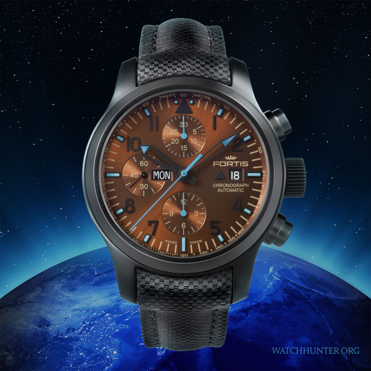 Fortis Blue Horizon Limited Edition watch with brown sunburst dial floating over Earth