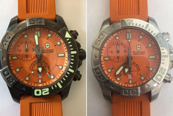 A Victorinox Swiss Army Dive Master 500 Chrono - Before and after PVD removal.